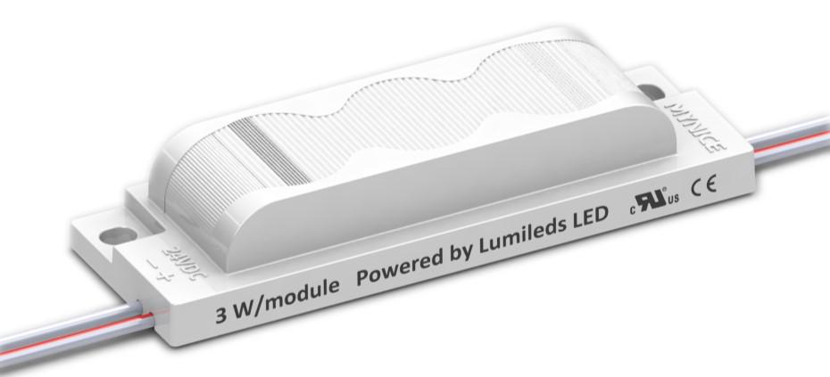 Трехточечный (3030) для торцевой подсветки с алюминиевым теплоотводом 3W (IP68) Белый