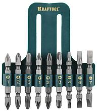 Набор KRAFTOOL Биты двухсторонние, в пласт. держателе, Cr-V, 9 предметов