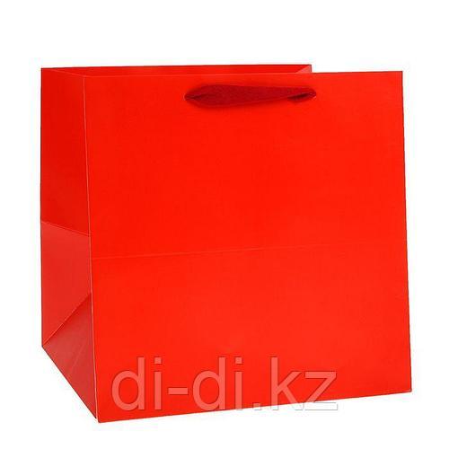 Пакет подарочный, красный, 30 х 30 х 30 см