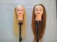 Учебный манекен голова с макияжем. Искуственный волос. 65-70см