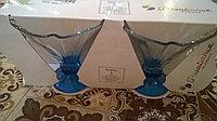 Две вазочки (кариманки) «ENJOY» для мороженого на синей ножке.