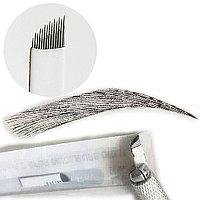 Иглы лезвие (14) для нанесение микроблейдинга, перманентного макияжа (татуажа) бровей