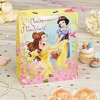 """Пакет подарочный вертикальный """"С Днем Рождения!"""", Принцессы, 31 х 40 х 11 см"""