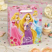 """Пакет подарочный вертикальный """"День рождение принцессы!"""", Принцессы, 31 х 40 х 11 см"""