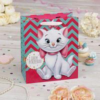"""Пакет подарочный вертикальный """"Милой девочке в день рождения"""", Коты аристократы, 31 х 40 х 11 см"""