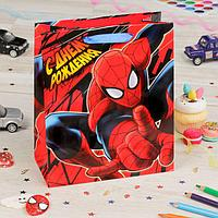 """Пакет подарочный вертикальный """"Самый крутой"""", Человек-паук, 31 х 40 х 11 см"""