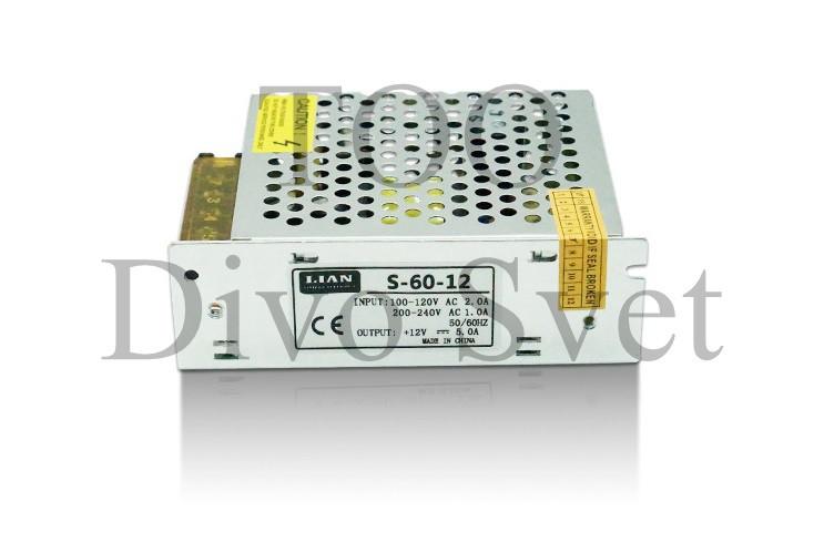 Блок питания 12V 5A 60W, открытый. Трансформатор 220В-12В, 60 Ватт. Power supply 12v, блоки питания.