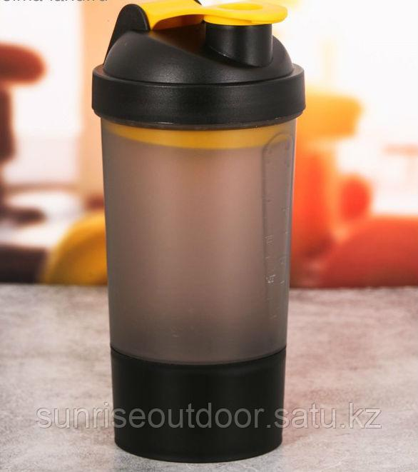 Шейкер спортивный с чашей под протеин 500 мл, чёрный - фото 1