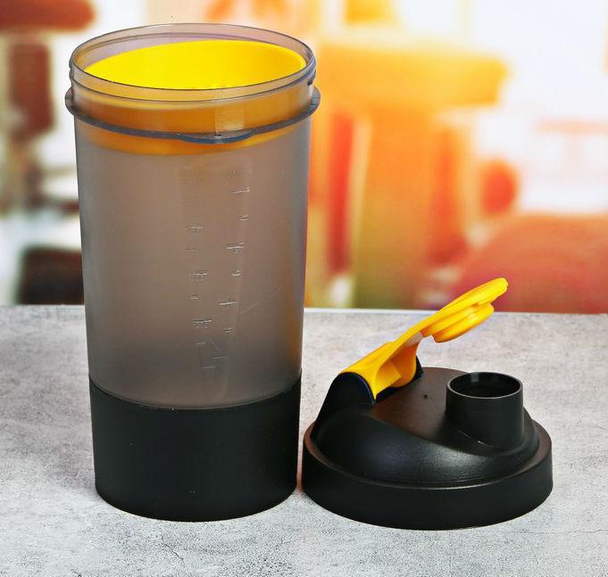 Шейкер спортивный с чашей под протеин 500 мл, чёрный - фото 2