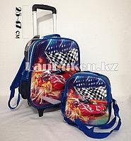 Школьный рюкзак на колесиках 2 отделения 2 в 1 машинка