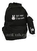 Универсальный школьный рюкзак с пеналом кролик черный