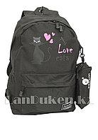 Ранец с пеналом лове с кошкой черный (I love cats)