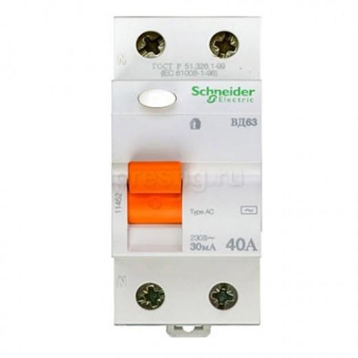 11452 Дифференциальный Выключатель нагрузки (УЗО) ВД63 2П 40A 30MA АС, Испания