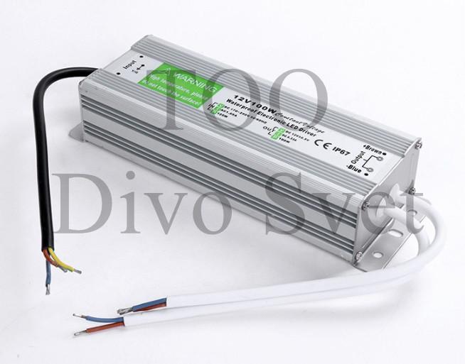 Блок питания 12V 8.3A 100W IP67, закрытый влагозащищенный. Трансформатор 220В-12В, 100 Ватт. Power supply 12v.