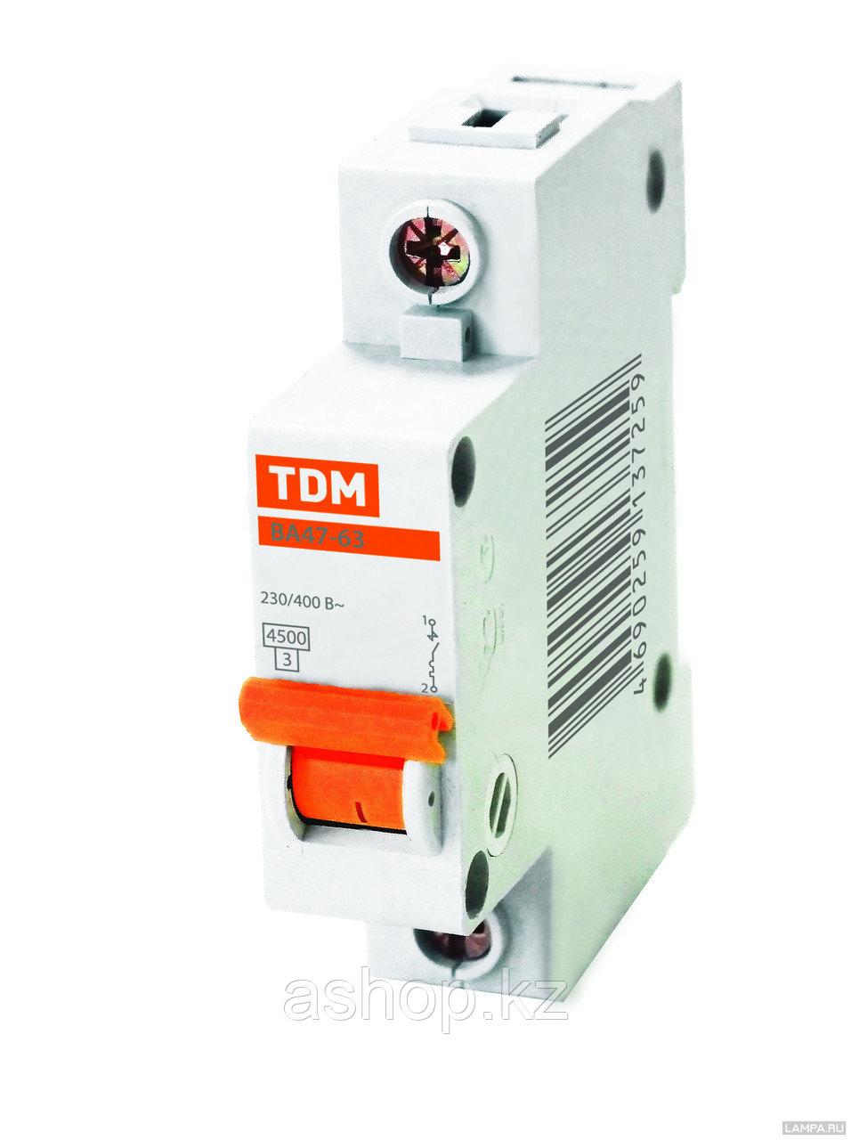 Автоматический выключатель реечный TDM ВА47-63 1P 16А, 230/400 В, Кол-во полюсов: 1, Предел отключения: 4,5 кА