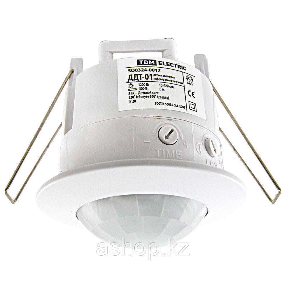 Датчик движения инфракрасный TDM ДДТ-01, Порог срабатывания по освещенности: 3 Лк — Дневной свет регулируемый,
