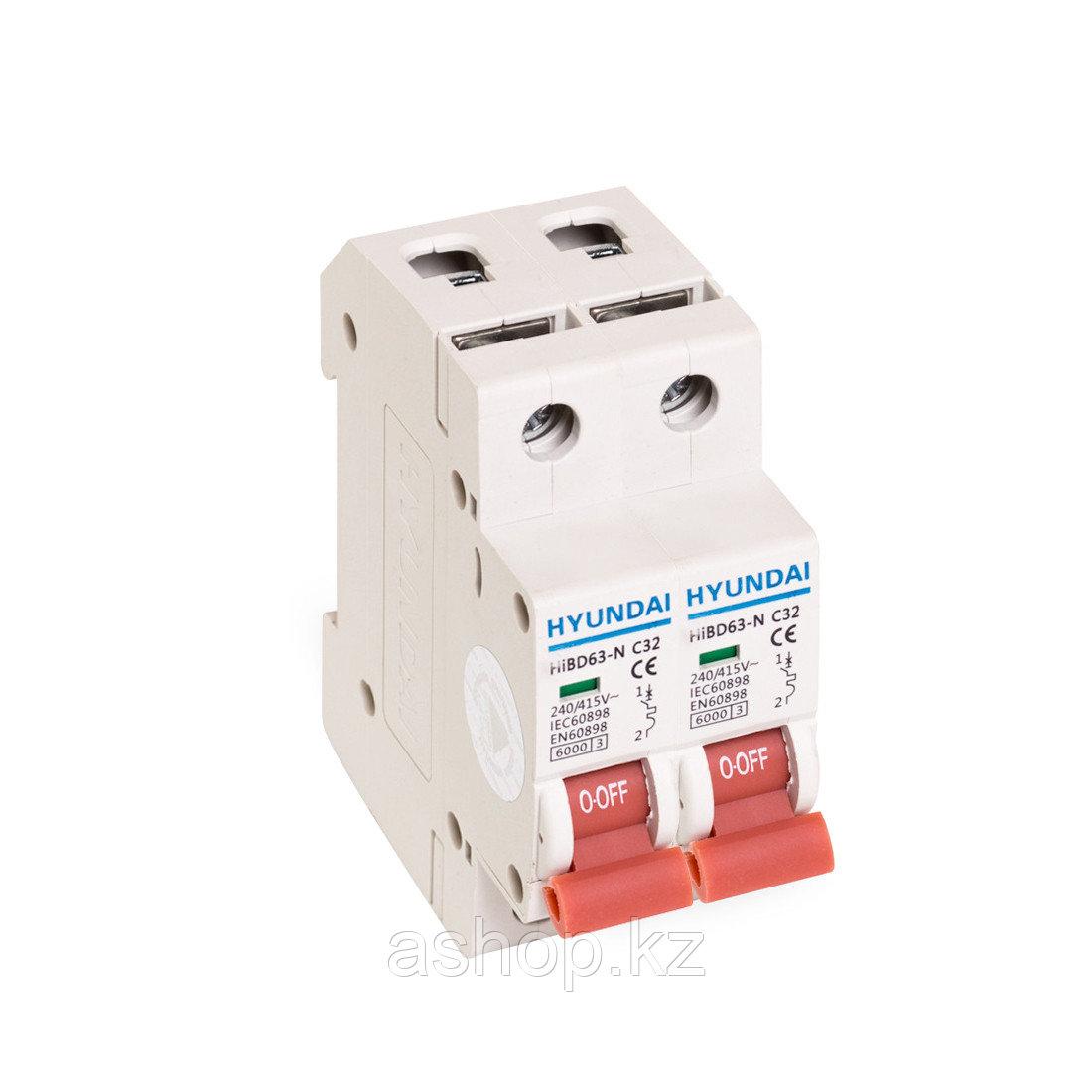 Автоматический выключатель реечный Hyundai HiBD63-N 2P 20А, 230/400 В, Кол-во полюсов: 2, Предел отключения: 6