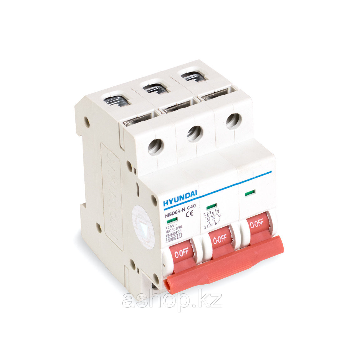 Автоматический выключатель реечный Hyundai HiBD63-N 3P 32А, 230/400 В, Кол-во полюсов: 3, Предел отключения: 6