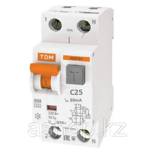 Автомат дифференциальный реечный TDM АВДТ64 N+1P 25А Ток утечки: 30mA, 230/400 В, Кол-во полюсов: N+1, Предел