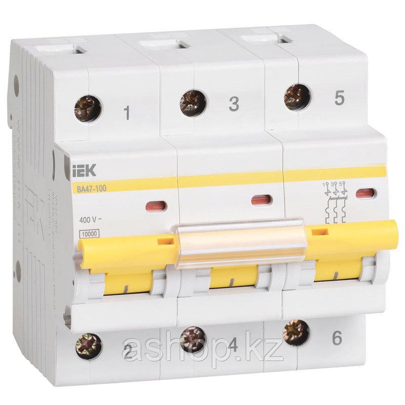 Автоматический выключатель реечный IEK ВА47-100 3P 63А, 230/400 В, Кол-во полюсов: 3, Предел отключения: 10 кА
