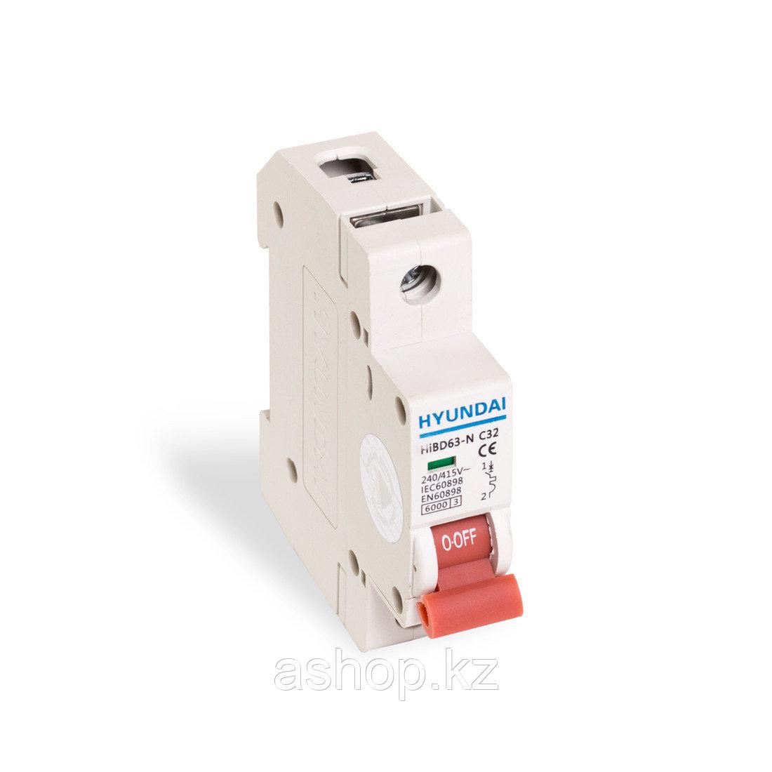 Автоматический выключатель реечный Hyundai HiBD63-N 1P 32А, 230/400 В, Кол-во полюсов: 1, Предел отключения: 6