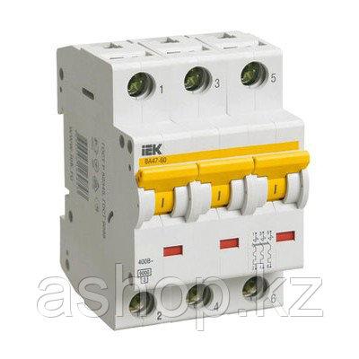 Автоматический выключатель реечный IEK ВА47-60 3P 25А, 230/400 В, Кол-во полюсов: 3, Предел отключения: 6 кА,