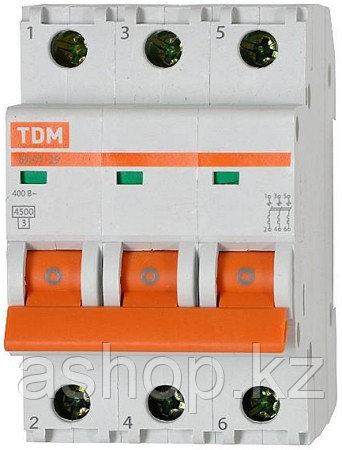 Автоматический выключатель реечный TDM ВА47-63 3P 40А, 230/400 В, Кол-во полюсов: 3, Предел отключения: 4,5 кА