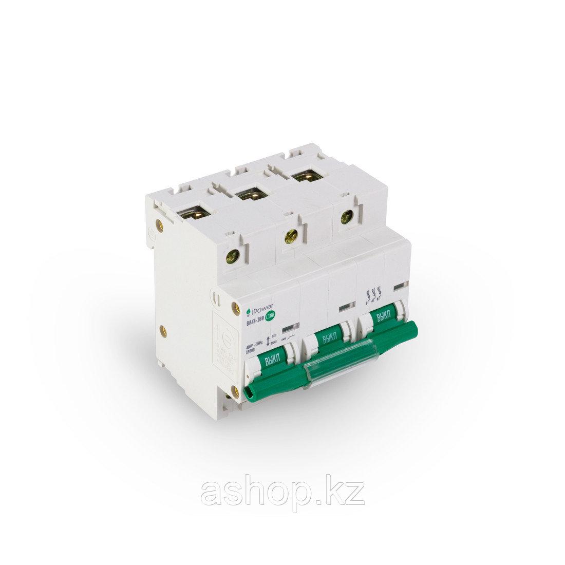 Автоматический выключатель реечный iPower ВА47-100 3P 100А, 230/400 В, Кол-во полюсов: 3, Предел отключения: 1