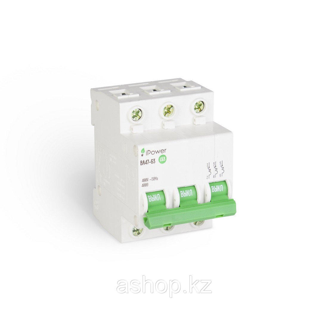Автоматический выключатель реечный iPower ВА47-63 3P 63А, 230/400 В, Кол-во полюсов: 3, Предел отключения: 4,5