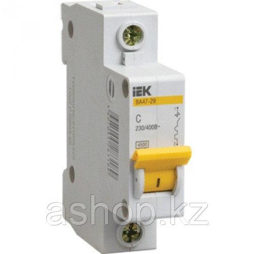Автоматический выключатель реечный IEK ВА47-29 1P 10А, 230/400 В, Кол-во полюсов: 1, Предел отключения: 4,5 кА