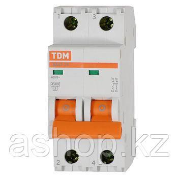 Автоматический выключатель реечный TDM ВА47-29 2P 25А, 230/400 В, Кол-во полюсов: 2, Предел отключения: 4,5 кА