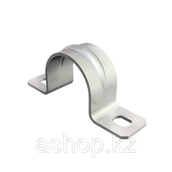 Скоба двухлапковая для трубы Рувинил С21416, Диаметр: 16 мм, Сталь оцинкованная