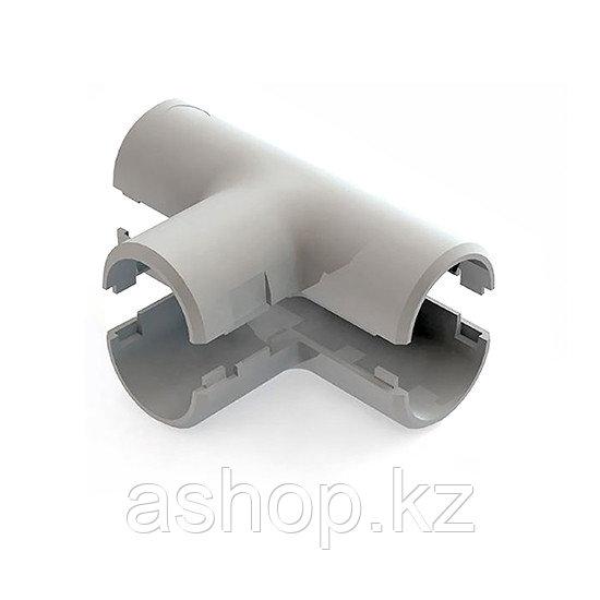 Тройник соединительный для трубы Рувинил Т01216, Диаметр: 16 мм, Полистирол, Цвет: Серый