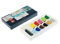 Краска для ткани акриловая набор 12 цветов по 18 мл Bruno Visconti+контур 22 мл + кисть, в картонной коробке
