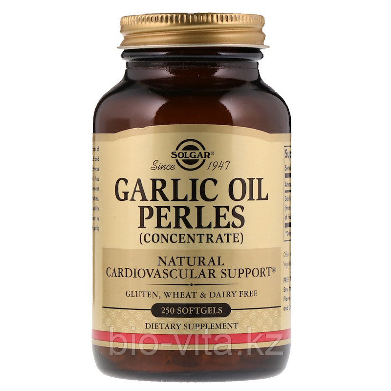 Solgar Чесночное масло  (Garlic oil) 1500 мг. 250 капсул.