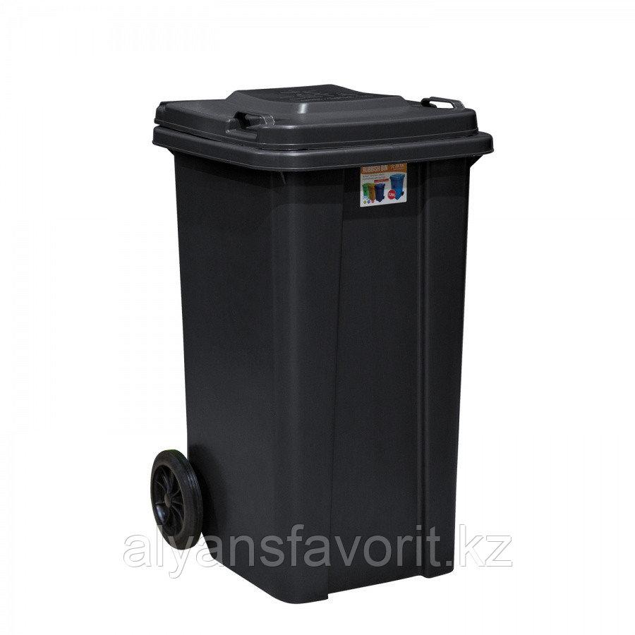Мусорный контейнер на 120 литров с крышкой - черный. РК