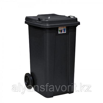 Мусорный контейнер на 120 литров с крышкой - черный. РК, фото 2