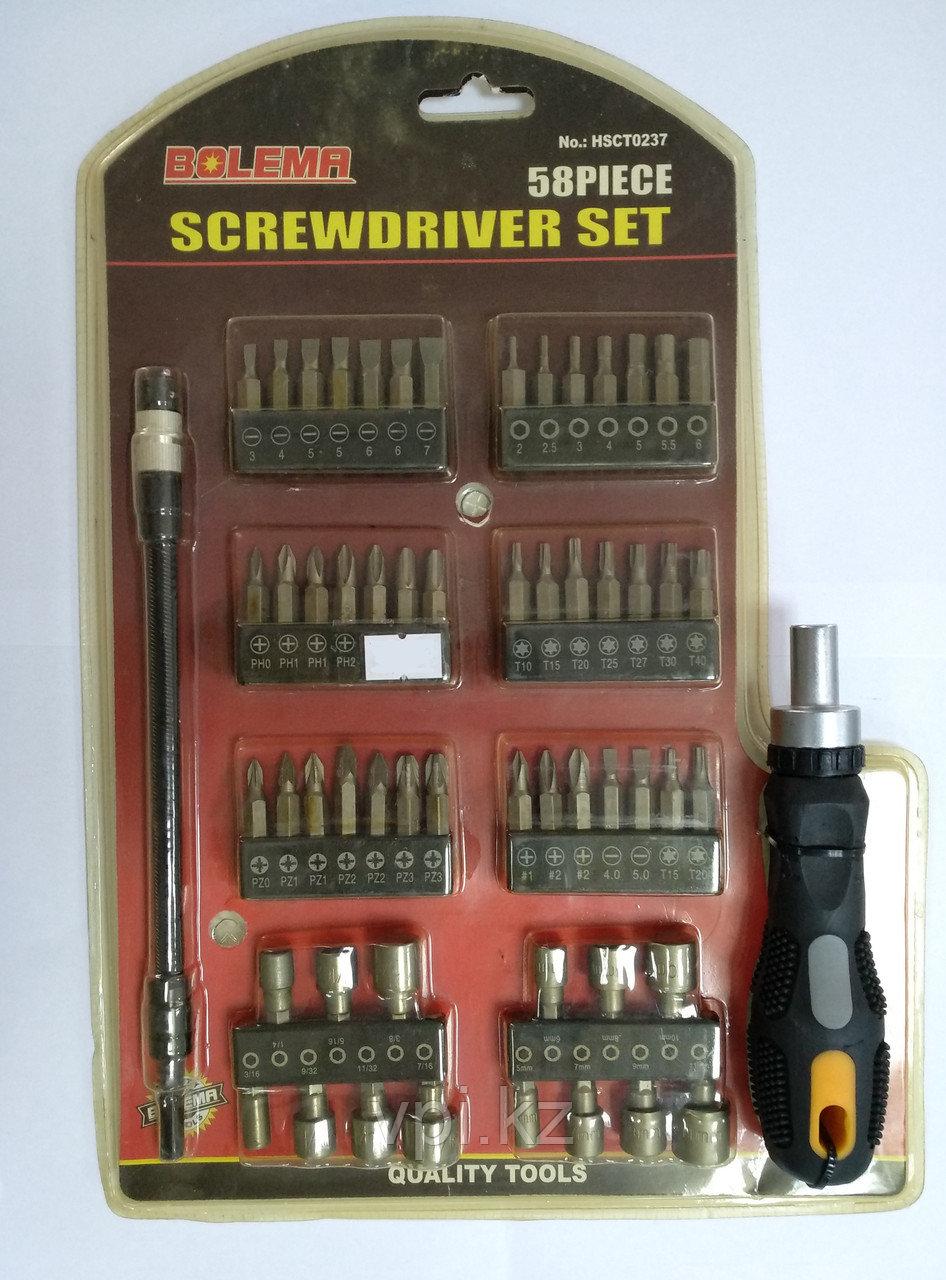Отвертка с набором бит, PH, PZ, SL, HEX, TORX, 58шт. + гибкий наконечник и ручка BOLEMA