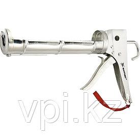 """Пистолет для герметика,  """"полуоткрытый"""", хромированный, зубчатый шток,  310 мл. 7 мм. Matrix"""