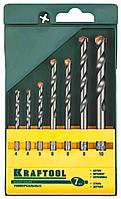"""Набор KRAFTOOL """"EXPERT"""" Сверла универсальные (бетон,мрамор,сталь,стекло,керамика,дерево), цилиндр. хвост., в боксе, 7шт"""