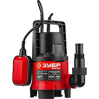 Насос М1 погружной, ЗУБР НПГ-М1-400, дренажн. для грязн воды (d частиц до 35 мм), 400Вт, пропускная способность 125л/мин, напор 5м, провод 7м