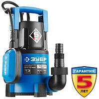 Насос Т3 погружной, ЗУБР Профессионал НПЧ-Т3-400, дренажный для чистой воды (d частиц до 5мм), 400Вт, пропуск. способ. 140л/мин, напор 8м,провод 10м