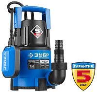 Насос Т3 погружной, ЗУБР Профессионал НПЧ-Т3-550, дренажный для чистой воды (d частиц до 5мм), 550Вт,пропуск. способ. 185л/мин,напор 8.5м,провод 10м