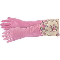 Перчатки хозяйственные латексные с манжетой, S//  Elfe