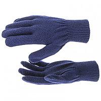 Перчатки трикотажные, акрил, цвет: синий, двойная манжета// Сибртех Россия