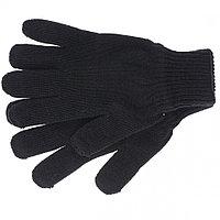 Перчатки трикотажные, акрил, двойные, цвет: чёрный, двойная манжета// Сибртех Россия