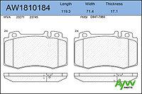 Колодки тормозные передние AYWIPARTS MERCEDES-BENZ C180K-55(W203) 00-07 / E200D-500(W211) 02-08 / CLS280-500(C