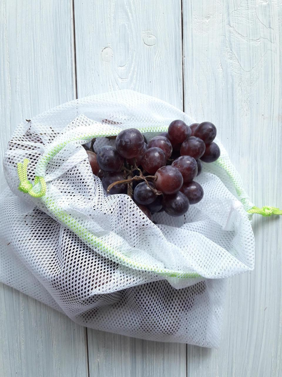 Синтетика. Многоразовый мешочек авоська для овощей и фруктов.