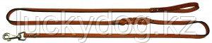Поводок 13/2 двойной длинный кожаный Наша ручная работа, 240см х 14мм