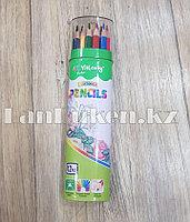 Карандаши трехгранные 12 цветов в металлическом тубусе